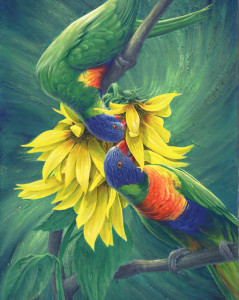 Sunflower Frenzy, painting by Murray Charteris